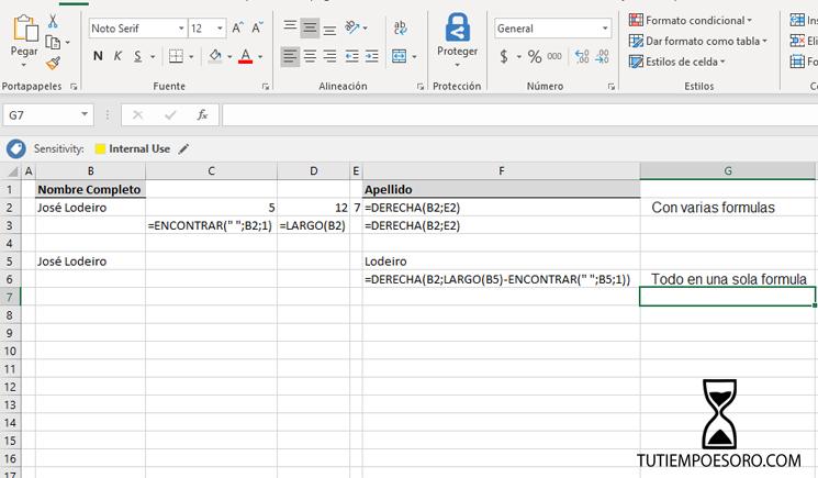 Ejemplo Funcion Microsoft Excel Derecha- Right - tutiempoesoro-com - Jose Manuel Lodeiro - Consultor Productividad - 2