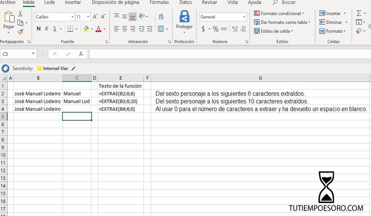 Ejemplo Funcion Microsoft Excel Extrae - Mid - tutiempoesoro-com - Jose Manuel Lodeiro - Consultor Productividad - Macros Excel VBA