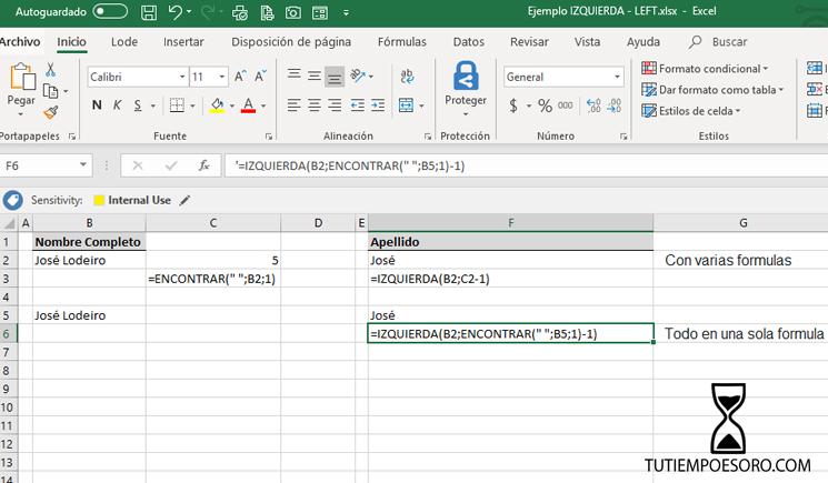 Ejemplo Funcion Microsoft Excel Izquierda- Left - tutiempoesoro-com - Jose Manuel Lodeiro - Consultor Productividad VBA Macros - 2