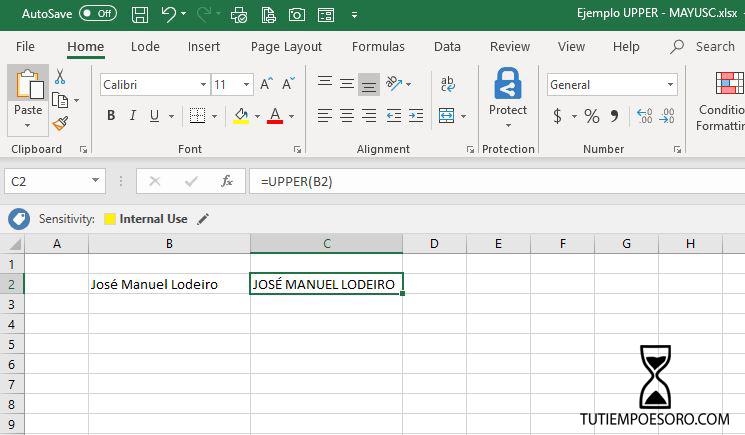 Ejemplo-Funcion-Microsoft-Excel-Upper-Mayusc-tutiempoesoro-com-Jose-Manuel-Lodeiro-Consultor-Productividad